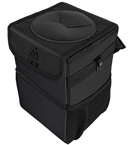Car Trash Can with Lid, Car Trash Bag Automotive Garbage Can, Vehicle Trash Bin Container for Car with Storage Pockets