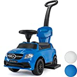 Licensed Mercedes 3 In 1 Ride On Push Car, Toddler Learning Foot To Floor, Removable Parent Handle & Safety Bars, Music Steering Wheel, RideStar