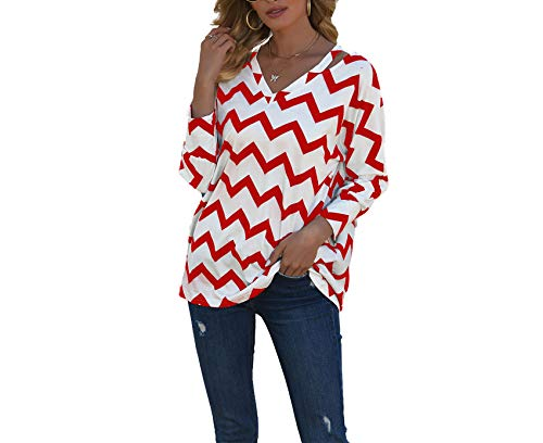 Camiseta De Mujer, Estampado De Corrugado con Cuello En V, Costura De Collage, Camiseta De Manga Larga para Viajeros Urbanos De Temperamento Informal