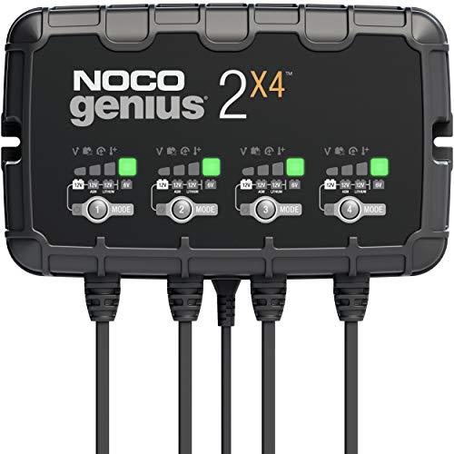 NOCO GENIUS2X4, 4 Intelligentes Ladegerät mit 8 (2-Amp pro Batteriebank), 6V und 12V Batterieladegerät, Erhaltungsladegerät, und Batterie-Desulfator mit Temperaturkompensation