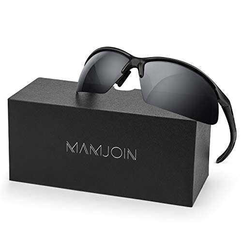 Mamjoin Polarized Sports Sunglasses for Men Women UV400 Protection Sunglasses for Cycling Driving...