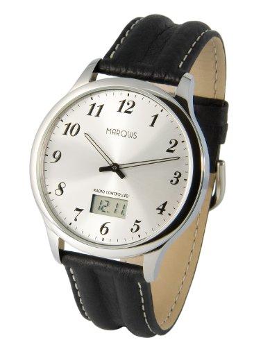 Elegante MARQUIS Herren Funkuhr (Junghans-Uhrwerk) Schwarzes Lederarmband, Edelstahlgehäuse 964.6478