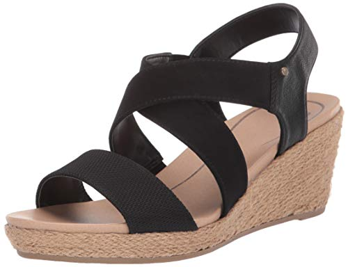 Dr. Scholl's Shoes Women's Emerge Espadrille Wedge Sandal, Black Tumbled, 10 M US