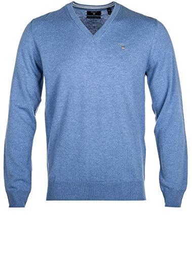 GANT trui V-hals wol lamswol blauw licht blauw melange