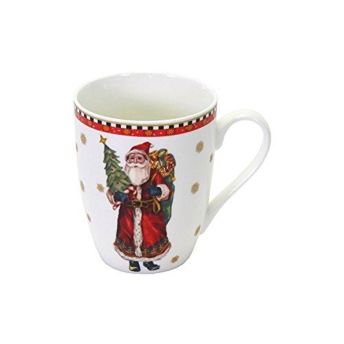 2 nostalgische porseleinen bekers, kerstman, kerstman, 330 ml, porselein, cadeau, beker, mok, koffiebeker, theekopje, keuken, beker, kerstcadeau-idee