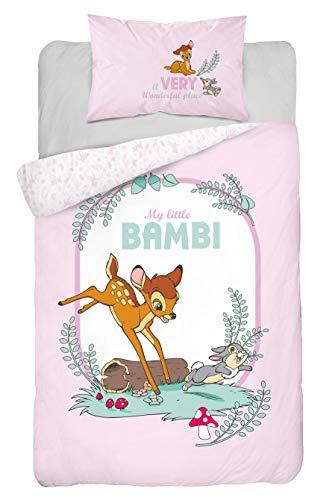 Disney Bambi Kinderbettwäsche Babybettwäsche 2 TLG Set Bettbezug 100x135 + Kissenbezug 40x60 cm, 100% Baumwolle Öko-Tex, rosa