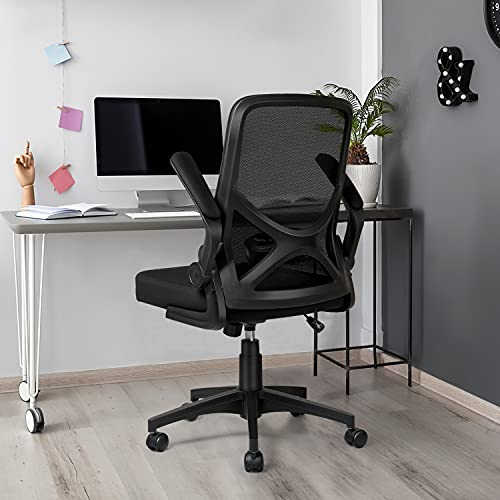 iCoudy Mid Back Mesh Office Chair Ergonomic Swivel Foldable Black Desk Computer Chair with Fip Up Arms Adjustable Lumbar Support Office Task Chair
