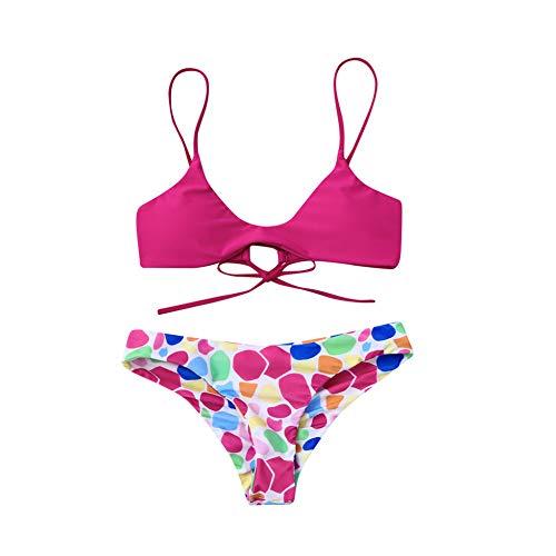 WORCSDJA Frauen Punkte Print Bikini Set Schwimmen Badeanzüge Badebekleidung Strandanzug Tanga Bikini Badende Mayo