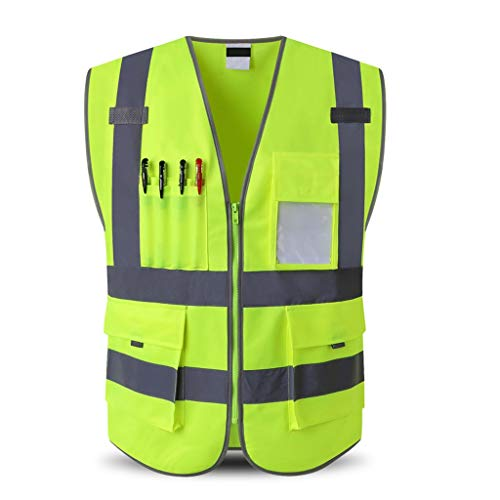 Veiligheid Vesten Bouwvakker Werkkleding Multi-pocket Security Officer Fluorescerende kleding sneldrogend duurzaam en waterdicht ademend Sanitation XMJ (Color : Yellow, Size : 2XL)