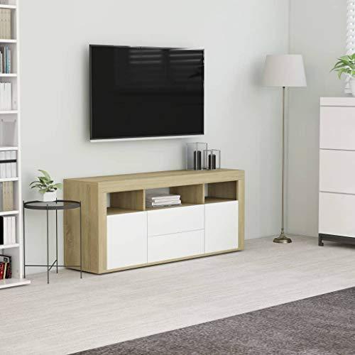 vidaXL Mueble para TV Salón Comedor Televisión Televisor Equipo de Música Armario Bajo Almacenaje Soporte Aglomerado Blanco Roble Sonoma 120x30x50cm
