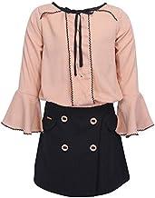 Cutecumber Girls Georgette Embellished Beige Top with Self Pinstripe Fabric Embellished Wrap Black Skirt.4428AB-BEIGE
