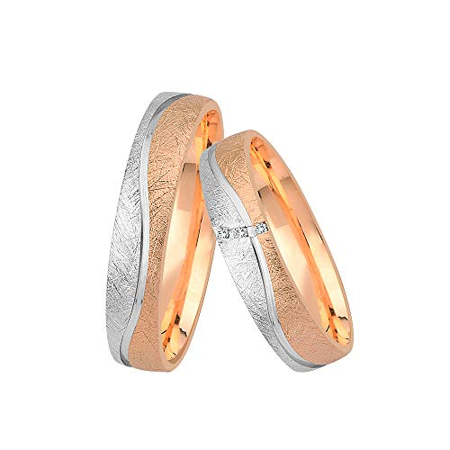GIORO Neapel Eheringe Trauringe Hochzeitsringe massiv Rot-/Weißgold *handgefasste Brillanten* Paarpreis Echtes Gold (14 Karat (585) Bicolor)