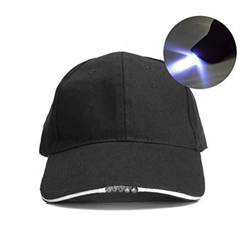 Mütze Licht Schirmmütze mit 5 Highpower (LED Cap), 100% Baumwolle, Einheitsgröße LED-Tarnung Camo Jagd Dschungel Fischerei Hut Mütze Jahrgang Wanderkappe, Verstellbarer Hip Hop Hut Unisex
