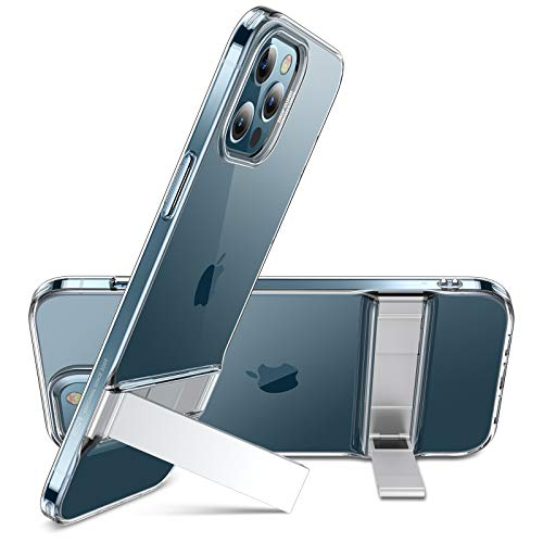 ESR Metal Kickstand Case Compatible with iPhone 12 Pro Max 6.7-Inch [Patented Two-Way Stand] [Reinforced Drop Protection] [Soft and Flexible Back] - Clear