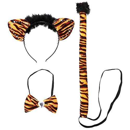 Widmann 8738E - Kostümset Tiger, Ohren, Fliege und Schwanz, Tier, Raubkatze, Mottoparty, Karneval