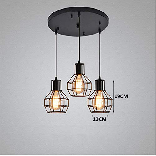 Pendant Lamps Shades Ceilings Bedroom Retro Black 3 Head Iron Pendant Lamp Vintage E27 Hanging Light Pendant Light for Living Room Bedroom Kitchen Foyer-A_Disc_Plate_Style