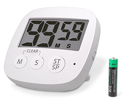 """Digital Timer for Kids - Kitchen Timers for Cooking - Upgraded 3"""" Large Size HD Display - AAA Battery Included"""