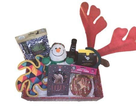 Zuce Pets Dog Bundle Christmas Hamper Gift Present Box With Toys And Treats (Pawsecco)