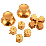 WiMas Aluminium Button Hats Thumb Grip Caps Bullet Buttons AXBY Button D-pad for PS4 7PCS (Gold)