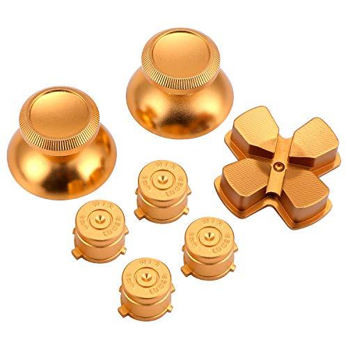 WiMas Metal Aluminium Thumbsticks Ersatz-Controller Thumb Grip Stick D-pad Schaltfläche Bullet Tasten Set für PS4 Controller (Gold)