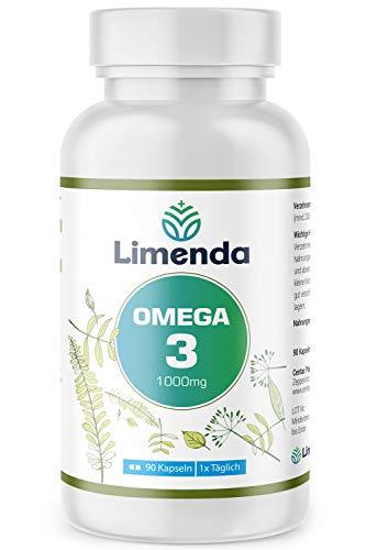 Omega 3 Fischöl Kapseln Hochdosiert 1000mg - 350mg EPA und 250mg DHA pro Tagesdosis - Laborgeprüft - gereinigt von Schadstoffen und aus nachhaltigem Fischfang - 90 Kapseln