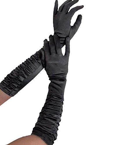 Guanti lunghi di raso riuniti in nero