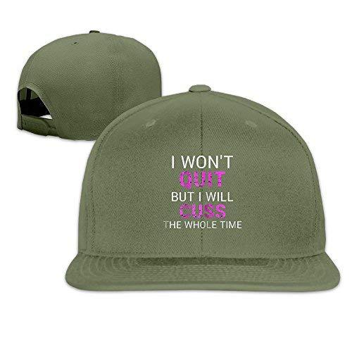 I Won't Quit But I Will Cuss The Whole Time11 Men Women Sport Hat Custom Cap Baseball Mesh Hat Design HatForestGreen