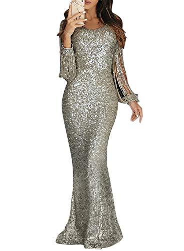 Dokotoo Damen Elegant Abendkleid Ballkleid Brautjungfernkleid Pailletten Quaste Maxilang Silber L (EU44-EU46)