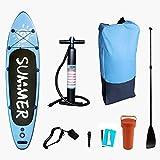 Wikidea Tabla Hinchable Stand Up Paddle Board 300 x 80 x 15cm, de PVC, hasta 320 Libras, Set Completo, Cubierta Antideslizante, Remo Ajustable, Bomba