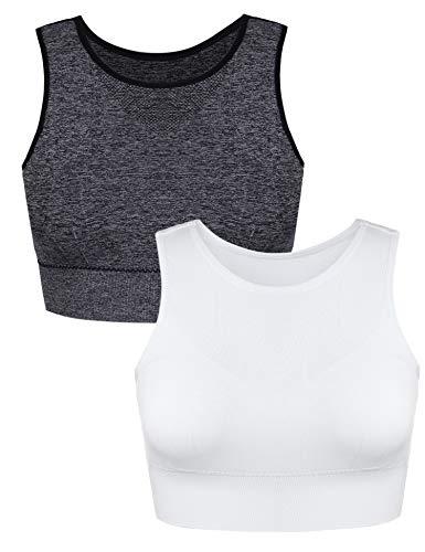 Aibrou Damen Sport BH Yoga BH Sport Bra Yoga Bra Gepolstert für Fitness Training mit verstellbaren Trägern Grau/Weiß S