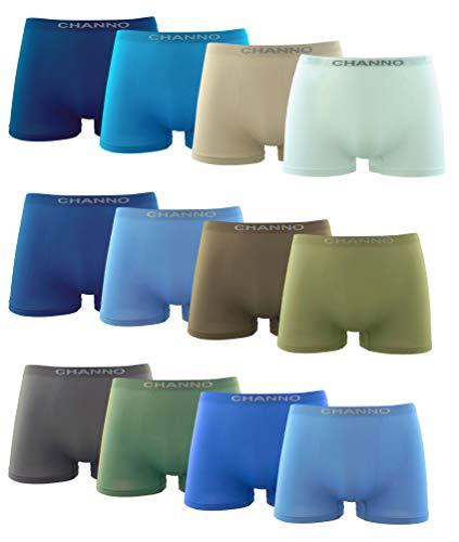 Channo Boxershorts für Kinder, nahtlos, Lycra, elastisch, Mikrofaser, 12 Stück, Mehrfarbig 2-4 Jahre