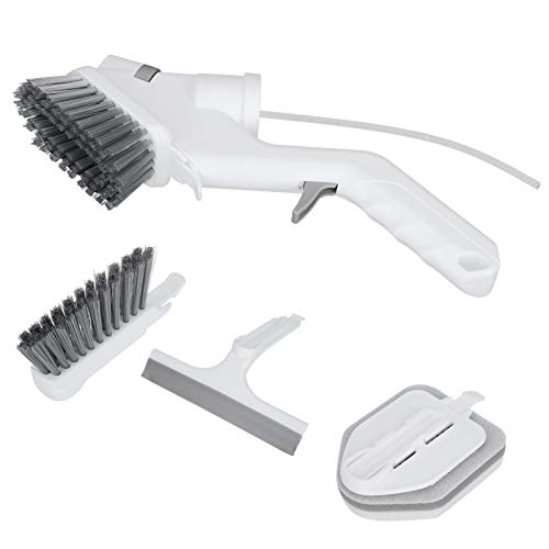 Multifunctional Spray Cleaning Brush Kit, Spray Cleaning Brush Pp and Abs and Tpr and Pet Bristles Water Spray Cleaning 26cm