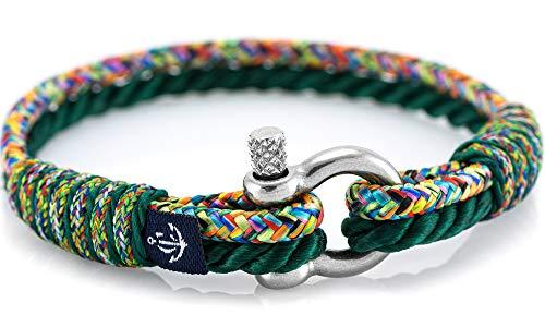 CONSTANTIN NAUTICS SAIL WITH US Maritimes Armband aus Segeltau, handgemacht, für Damen und Herren, mit Edelstahl Schäkel-Verschluss 3mm CNB #838 17 cm