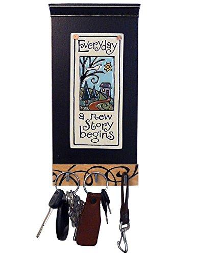 Modern Artisans Inspirational Ceramic Art Tile Key Holder with 3 Hooks, Everyday a New Story Begins' Quote