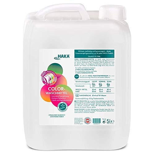 HAKA Colorwaschmittel Faser Fit I 5 Liter Kanister I 100 Wäschen I Waschmittel hautfreundlich und ohne Bleichmittel I Für Buntwäsche