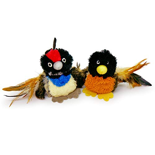Pet Craft Supply Co Batty Bird amp Quirky Quail Funny Cuddling Chasing Irresistible Stimulating Soft Plush Boredom Relief Interactive Catnip Filled Cat Toy with Realistic Feathers 2 Pack