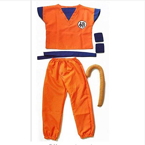 N-B Disfraz de Dragon Ball Z de Son Goku Cosplay Disfraces Top/Pantaln/Cinturn/Cola/Zapatos de Pulsera Peluca para Adulto
