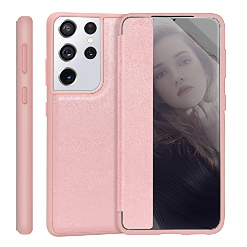 """Skycase Galaxy S21 Ultra Case ,[Anti Scratch][Shock Absorption]Handmade Flip Folio Case Designed with interior SD/SIM Card Slot and Ejector Pin Slot for Samsung Galaxy S21 Ultra 6.8""""2020 5G,Rose Gold"""