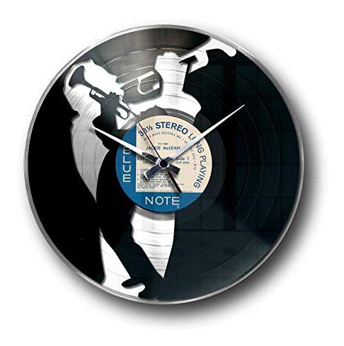 Disc'o'Clock Jazz Silver - Wanduhr aus Vinyl Schallplattenuhr mit Trompete Jazz-Musiker Motiv Upcycling Design Uhr Wand-Deko Vintage-Uhr Retro-Uhr