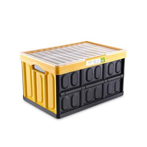 KDOAE Aufbewahrungstasche Faltbare Kunststoff-Auto-Kofferraum Aufbewahrungsbehälter-Gelb Küchentheke Spielzeug Tragbarer für Lagerung (Color : Yellow, Size : 52.5X36X29.8CM)