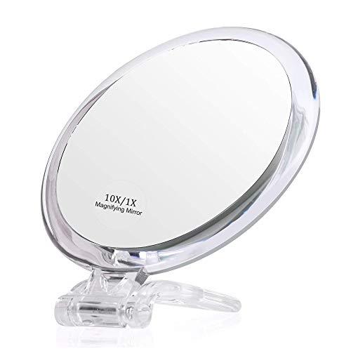 Espejo de aumento, espejo de dos caras, plegable con soporte de mano, uso para aplicación de maquillaje, pinzas, y eliminación de puntos negros/manchas (6 pulgadas 10X/1X, transparente) ZHNGHENG