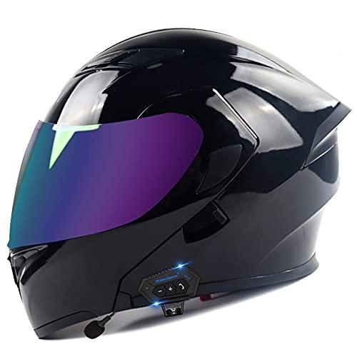 COKECO Bluetooth Casco Moto Modular Casco De Motocicleta Todoterreno Certificación ECE/Dot con Visera Solar Doble, Antivaho, A Prueba De Lluvia Y Anticolisión Adulto Unisex 57~62CM