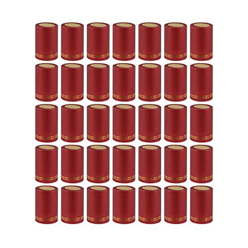jojofuny 200 Pzas PVC Termorretráctil Cápsulas Mangas Botellas de Vino Envoltura Retráctil Cápsulas de Vino Tinto Tapas de Envoltura de Botellas de Vino Tapas de Tapa de 33Mm Rojo