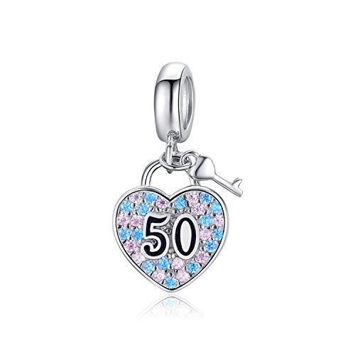 Sterling Silver 50th Charm Bracelet,Age Charms for Bracelet Necklace 50th Anniversary Birthday Gifts for Mother, Grandmother