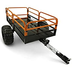 LOAD CAPACITY: 1,500lb; 15 cu. ft. of hauling capacity; Max Speed 10 mph DURABILITY: Solid steel floor and frame with removable steel mesh side rails and tailgate EASE OF USE: Foot dump, quick release latch & tilt trailer bed for easy loading and dum...