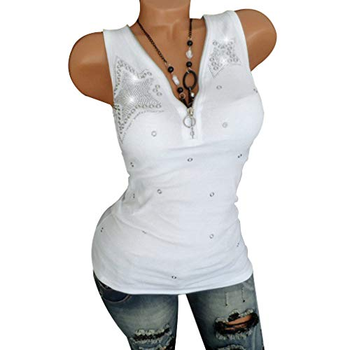 Floridivy Vrouwen pailletten Star Zipper V-hals mouwloos t-shirt Girl Summer Vest Tank Tops