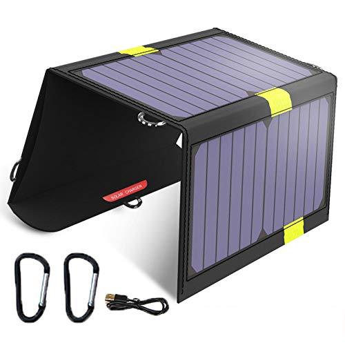 Cargador Solar 20W Panel Solar Cargador Plegable Portátil Impermeable con 2 Puertos USB Placa Solar Power Bank Compatible para Acampar Viajes Al Aire Libre