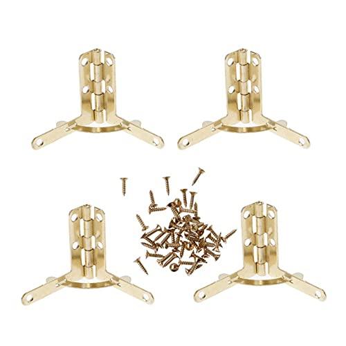 ESTone - Caja de regalo para joyas, 4 unidades, bisagras de madera, soporte de 90 grados con tornillos