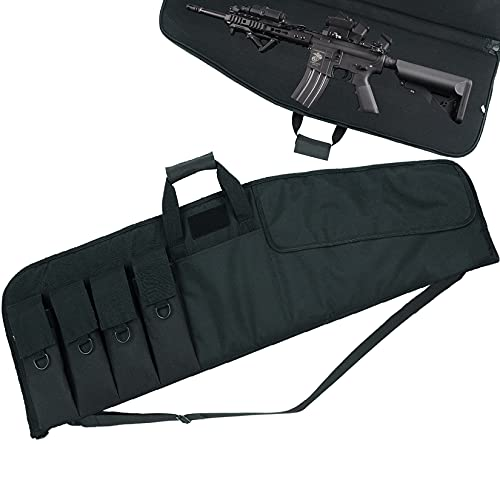 SW SOWLAND Soft Rifle-Case Gun Bag - Tactical Outdoor Carbine Padded Cases with 4 Pockets Black 36'