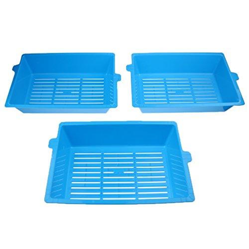Homyl 3 Strati Cat Litter Box WC Vassoi Non Fuoriuscita Cat Forniture Lettiera Blu